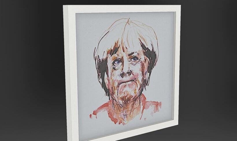 3D Scanned painting from Angela Merkel AR for art presentation